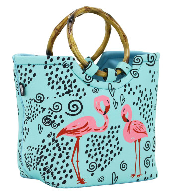 Lunch Bag Tote Bag by QOGiR - Large Reusable Insulated Neoprene lunch Bag with Inside Pocket - Perfect for Women Girls (Flamingo)