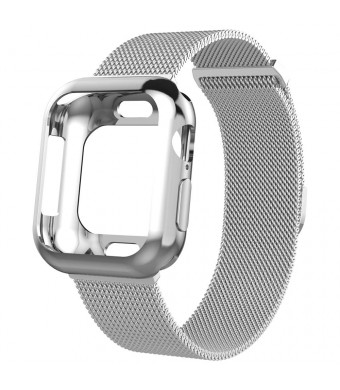 Mostof Compatible Apple Watch Series 4 Band 40mm 44mm, Stainless Steel Mesh Strap with Case Protector Accessories Replacement for Apple Watch Series 4 Men Women, Silver
