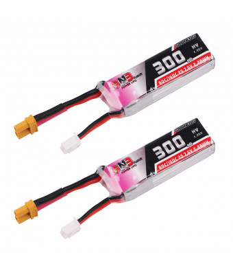2pcs GNB 300mAh 2S 80C/160C 7.6V LiPo Battery HV 2S LiHv Battery with XT30 Plug for Micro FPV Racing Drone Brushless Quadcopter