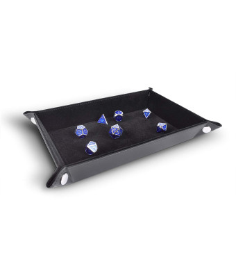 Folding Dice Tray PU Leather and Black Velvet Rectangle for dice Rolling Games Like DND DandD by RNK Gaming