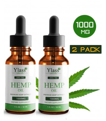 (2 Pack) Hemp Oil for Pain Relief - 1000mg Natural Organic Hemp Seed Full Spectrum Extract - Stress Relief, Anti Anxiety, Sleep Supplements - Herbal Drops - Rich in MCT Fatty Acids (30ML-1000MG)