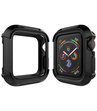Mostof for Apple Watch Case Series 4 44mm, Lightweight Flexible Full Protective Cover Soft Anti-Scratch Bumper Case Screen Protector 44mm Compatible with 2018 New iWatch Series 4 case (Black)