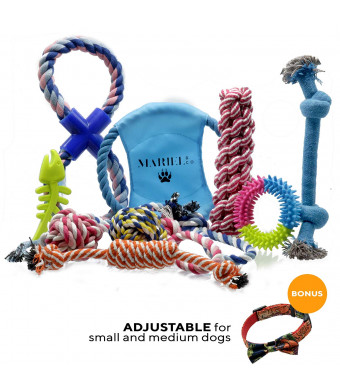 MArieL Store Dog Rope Toys | Includes Comfy Bowtie Dog Collar | Durable Pet Supplies For Small and Medium Breed Dogs | Good For Aggressive Chewing | Flossing Action | Gentle On Teeth and Gums | Set of 10