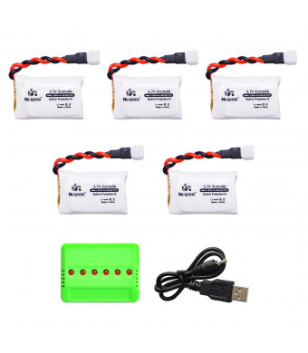 5pcs 3.7V 300mAh 25C LiPo Battery with 1 in 6 Charger Compatible with FQ777 X11,Hubsan X4 H107C H107D H107L,JJRC H22 RC Quadcopter Drone