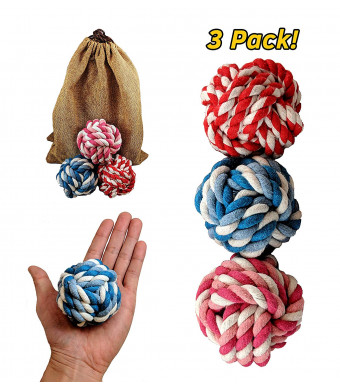 PetToys Rope Ball Dog Toy (3-Pack) Colorful and Interactive | Soft Mouth or Aggressive Chewers | Training, Fetch, Tug of War Play | Pure Cotton Fibers Clean Teeth and Gums