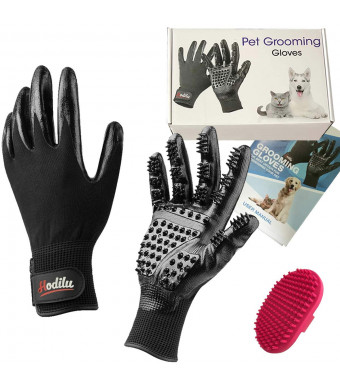 [Upgrade Version] 2-in-1 Pet Grooming Glove - Gentle Deshedding Brush Glove - Efficient Pet Hair Remover Mitt - Enhanced Five Finger Design - Perfect for Dog and Cat with Long and Short Fur