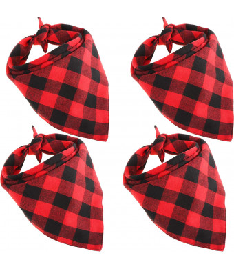 Bememo 4 Pieces Dog Scarf Pet Bandanas Triangle Pet Saliva Towel Red Black Plaid Kerchief for Pet Supplies