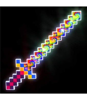 OIG Brands Light Up Pixel Sword for Kids - 24 Inch Toy LED Saber for Minecraft -Themed Birthday Party (Tie Dye)