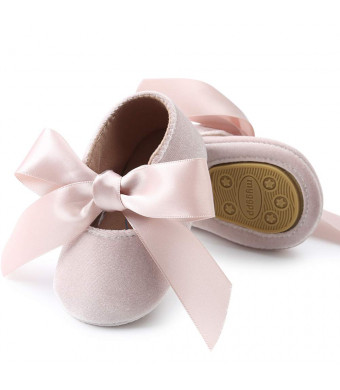 BubbleColor Baby Girls Ballet Dress Shoes Toddler Infant Prewalker Soft Sole Bow Mary Jane Party Princess Crib Shoes
