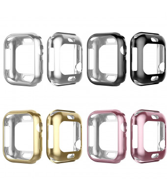 Tech Express 4 Pack Metallic Chrome Bumper Protection Case for Apple Watch Series 4 [iWatch Cover] Black, Silver, Rose Gold, Gold 40mm, 44mm Rugged Skin Cover Shockproof Lot of 4 (40mm)