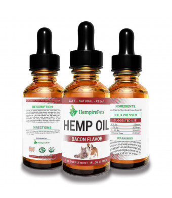 Hemp Oil for Dogs and Cats  Bacon Flavor -100% Organic Natural Calming Drops - Anxiety Support - Hip and Joint Health - Pain Relief Stress Reducer for Pets