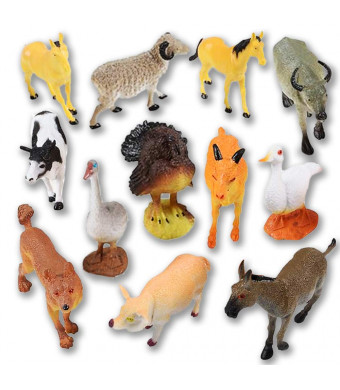 ArtCreativity 4 Farm Animals Figurines Toys (12 Pack) | Mini Plastic Barnyard Figures for Kids and Toddlers | Small Birthday Party Favors,, Goody Bag Fillers, Gift for Boys and Girls
