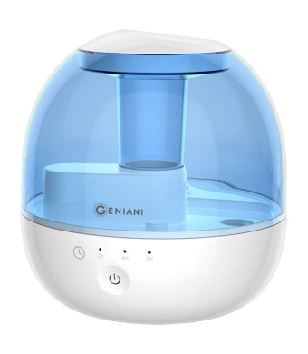 GENIANI 2 L Ultrasonic Cool Mist Humidifier with Timer - Best Air Humidifiers for Bedroom/Living Room/Baby with Night Light - Whole House Solution - Auto Shut Off and Filter-Free - 2 Year Warranty