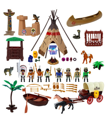 Liberty Imports Deluxe Wild West Cowboys and Indians Plastic Figures Playset | Educational Toy Soldiers Native American Action Figurines and Accessories