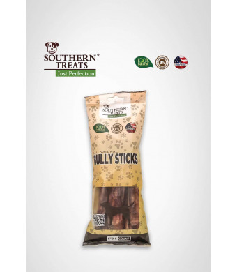 "SOUTHERN TREATS Bully Sticks 6"" X 6 Count Made in USA 100% All-Natural Grass-Fed Free-Range Odor-Free Premium Beef Dog Chews"