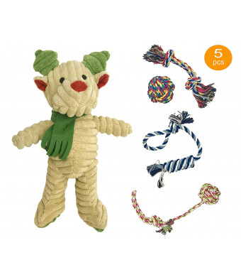 PetPro Premium Dog Rope Toys and Plush Squeaky Toy Sets for Small Medium Dogs, Dog Chew Toys, Tug of War Rope, Interactive Dog Teething Toys Cotton Rope Knot Toys for Doggies, Dog Toys, Pack of 5