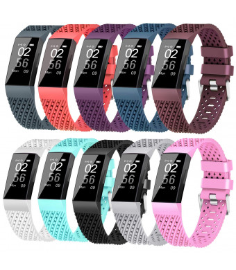 X4-Tech Compatible with Fitbit Charge 3 Bands Small Large for Women Men, Choose Color Soft Silicone Sports Replacement Accessory Band for Smartwatch Charge 3 Fitness Tracker(10PCS-1, Small)