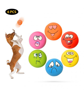 Wieppo Latex Dog Squeaky Toy - Rubber Dog Squeaky Toy Balls Interactive Puppy Toys Cat Dog Ball Throwing Toy Latex Dog Squeaky Balls Emoji Dog Toys for Small Pet Dogs Puppy Pups Cat
