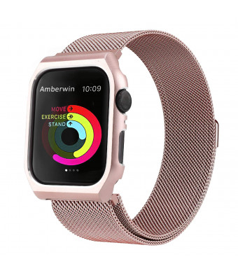 Amberwin Compatible for Apple Watch Band Milanese Loop, Stainless Steel Mesh Magnetic Replacement Wrist Band with Metal Protective Case for Apple Watch Series 4