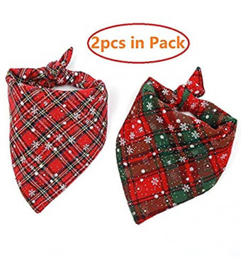 Borangs Christmas Dog Bandana Triangle Bibs Classic Plaid Snowflake Pet Scarf Reversible Kerchief Pet Costume Accessories Decoration for Small Medium Large Dogs Cats Pets Pack of 2