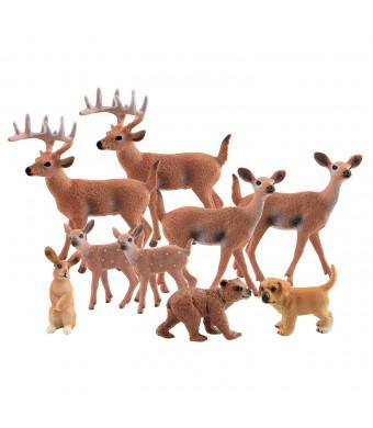 TUPARKA 9Pcs Woodland Animals Set, Forest Animals Figure Deer, Dog, Rabbit, Bear Toys Figure for Christmas Decorations Kids Toys