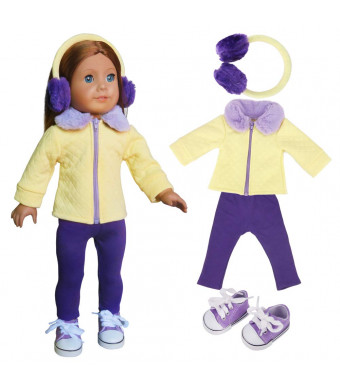 18 Inch Doll Clothes (Yellow Coat Clothes/Fur Headband with Purple TrousersPurple Casual Shoes Fit for 18 inch Girl Dolls)