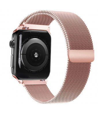 Amberwin Compatible with Apple Watch Band 42mm 38mm 44mm 40mm, iWatch Bands Stainless Steel Milanese Loop with Magnetic Closure for Apple Watch Series 4 3 2 1 (Rose Gold, 38/40mm)