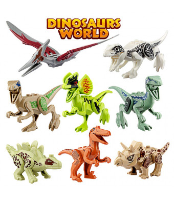 Growsland Dinosaur Toys Gifts 8 PCS Dinosaur Building Blocks Mini Plastic Dinosaur Figures Realistic Dinosaur Party Favors Sets for Boys Girls Kids and Toddlers