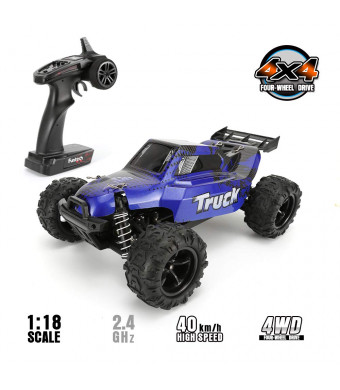 FunTech Rc Car, RC Electric Racing Cars, Remote Control Car Off Road Monster Truck, 1/18 Scale Off-Road 2.4-Ghz Radio RC 4WD High Speed Car(Blue)
