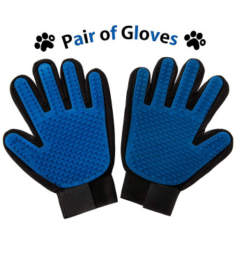 FunnyBall Pet Grooming Gloves | Hair Deshedding Mitt for Cats, Dogs, Short and Long Coat | Gentle Silicone Tips for Efficient Fur Removing | Made from Breathable Fabric (One Pair)