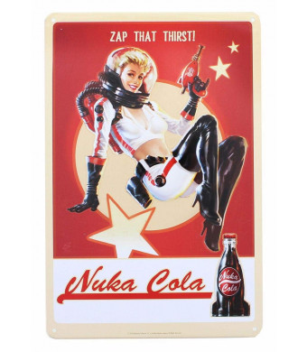 "FanWraps Fallout 76 Nuka Cola Girl Metal Sign Official Lithograph | Wonderful 6"" x 9"" Video Game Decor"