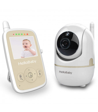 HelloBaby HB248 Wireless Video Baby Monitor with Remote Pan-tilt, Infrared Night Mode, Two-Way intercom System, Rechargeable Battery, 2.4 Inch