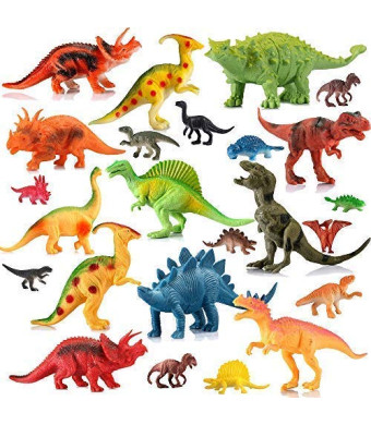 "EIAIA Dinosaur Toys for Boys Girls - 24 Pack Educational Dinosaur Family Includes 12 Large 7"" and 12 Mini 2"" Realistic Dinosaur Figures Best Toys Gift for Kids"