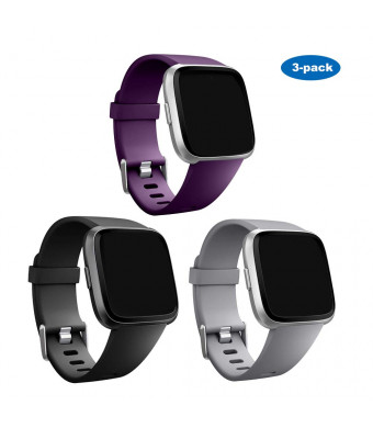 Ohderii Sport Band Compatible Fitbit Versa, Soft Silicone Strap Replacement Wristband Fitbit Versa Smart Fitness Watch, Large Small