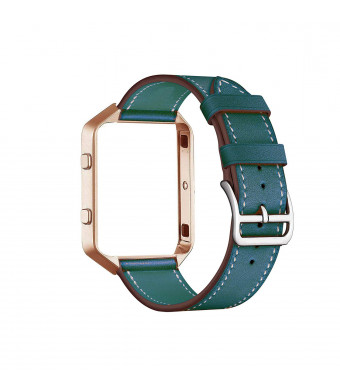 for Fitbit Blaze Band with Frame, CAILIN Genuine Leather Replacement Band with Vintage goldMetal Frame (Blue, M)