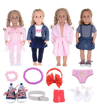 12 Packs 18 Inch Doll Accessories for American Girl Doll, Handmade Ballet Outfits, Denim Dresses, Pajamas Clothes