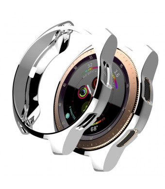 Case for Galaxy Watch 42mm, Minisoo Soft TPU Plated [Scratch-Resist] Frame Shock-Proof All-Around Protective Bumper Shell for Samsung Galaxy Watch 42mm Smartwatch (Silver)