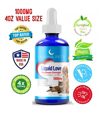1000mg 4oz Hemp Oil for Pets- Organic Hemp Extract for Dogs and Cats - Made in The USA- Pain Relief-Anxiety and Stress Relief- Soothes Arthritis and Joints-Full Spectrum Hemp Extract-Daily Immune Support