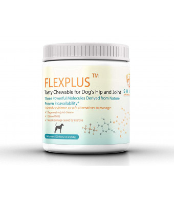 FLEXPLUS Hip and Joint Nutriceuticals for Dogs. High Purity Glucosamine, MSM, Chondroitin, Antioxidants. Clinically Proven Absorption. Arthritis Pain Relief Treats.120 Chews Chicken Flavor. Made in USA