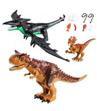 CHICKEN TOYS Dinosaur Sets,2 Large Dinosaurs,1 Small Dinosaur,9 Dinos Figures Accessories