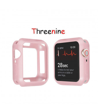 Threenine for Apple Watch case, Cratch-Resistant Soft Flexible TPU Lightweight Protective Protector Bumper for Apple Watch case Series 3 Series 2 Series 1 Sport, Edition (Light pink-01, 42mm)