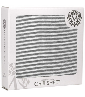 Margaux and May Premium Muslin Cotton Baby Crib Sheets - Grey Stripes - Great Gift for Baby Boys or Girls - Fits Standard Mattress for Babies and Toddlers