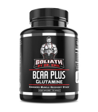BCAA + 1500mg Glutamine - Highest Capsule Dose (3200 mg) - Branched Chain Amino Acids w/ Optimal 2:1:1 Ratio - Enhanced Recovery and Growth Stack for Men and Women (150 Pills)