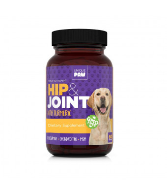 Unique Paw Hip and Joint Supplement for Dogs - Pain Relief and Anti-Inflammatory | Glucosamine Chondroitin for Dogs with Turmeric, Chondroitin, MSM, Hyaluronic Acid | Young and Seniors