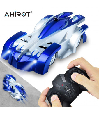 AHIROT Wall Climbing RC Car Remote Control Car Toy, USB Rechargeable Gravity Defying RC Car with Update Remote Control, 360Rotating Stunt for Boy Girl Kids Ideal for Birthday Gift (Blue)