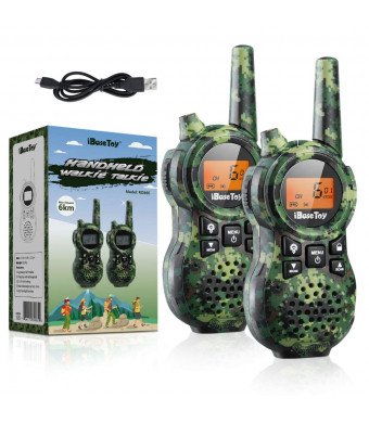 iBaseToy 2 Pack Rechargeable Kids Walkie Talkies, 22 Channels 2 Way Radio Toy for Boys, Up to 4 Miles Range with Flashlight, LCD Screen and Charging Cable for Outdoor Adventures, Camping, Hiking