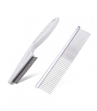 Happylife11 2 in 1 Pet Grooming Comb Stainless Steel and Dog Cat Flea Comb for Removes Tangles, Crust, Mucus Stains Flea and Hair Fur Cleaning