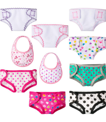 Jovitec 8 Pieces Doll Diapers Reusable Cloth Underwear Set Compatible with 18 Inch American Girl Dolls, Fabric Underwear and 2 Dolls Bib Accessories