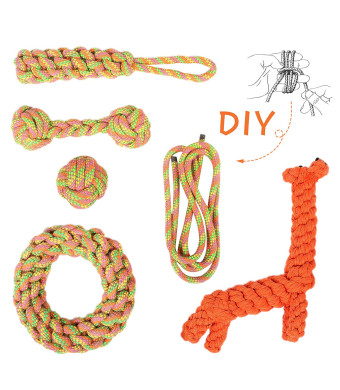 Dog Rope Toys Set, Dog Chew Toys Rope for Aggressive Chewer, Dog Rope Teething Ball for Puppy Small Medium Large Dogs, Dog Toy Pack of 5+1