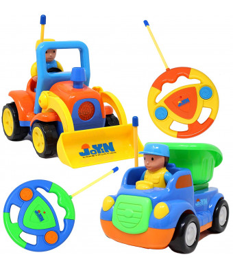 JOYIN 2 Cartoon RC Dump and Bulldozer Trucks Radio Remote Control with Music and Sound Includes 2 Figures Toys for Baby, Toddler and Kids Cars, Classroom Prize, and Easter Basket Stuffer Fillers